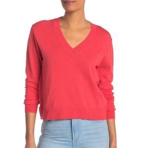 J. Crew NWT Slub Knit V Neck Sweater Rosy Coral